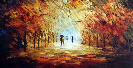 Ganesh Panda | Acrylic Painting title Romantic Walk In The Rain Ii on Canvas