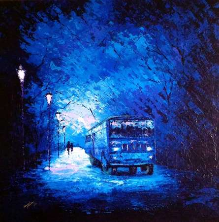 Nature Acrylic Art Painting title 'The Bus Ride' by artist Ganesh Panda