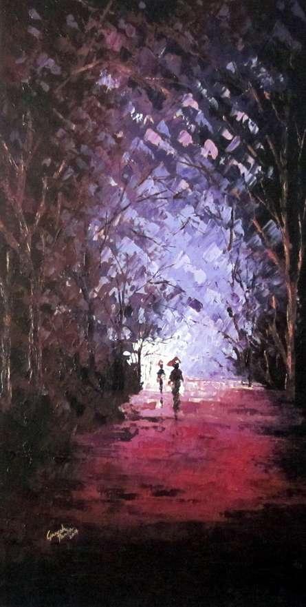 Ganesh Panda | Oil Painting title The Purple Monsoon on Canvas | Artist Ganesh Panda Gallery | ArtZolo.com