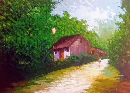 Landscape Acrylic Art Painting title 'Village' by artist Ganesh Panda