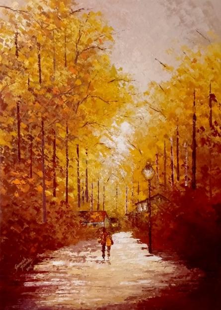 Landscape Acrylic Art Painting title 'Walking Towards Sunshine' by artist Ganesh Panda