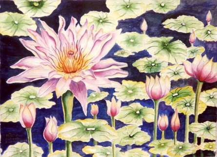 Nature Watercolor Art Painting title 'Water Lily' by artist Subodh Maheshwari