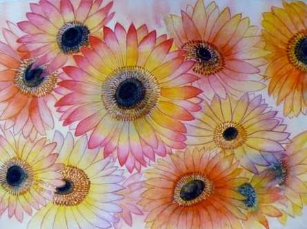 Nature Watercolor Art Painting title 'Gerber Daisies' by artist Subodh Maheshwari