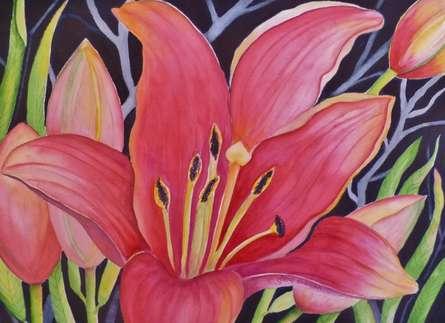 Nature Watercolor Art Painting title 'Hot Pink Lily' by artist Subodh Maheshwari