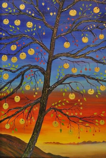Subodh Maheshwari Paintings | Landscape Painting - Lakshmi by artist Subodh Maheshwari | ArtZolo.com
