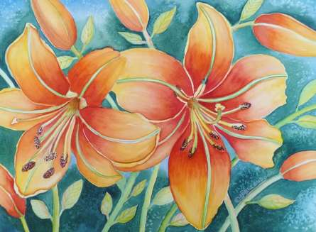 Nature Watercolor Art Painting title 'Orange Lily' by artist Subodh Maheshwari