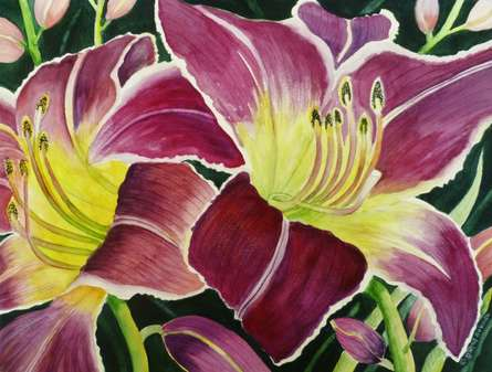 Nature Watercolor Art Painting title 'Purple Lily' by artist Subodh Maheshwari