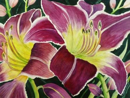 Nature Watercolor Art Painting title Purple Lily by artist Subodh Maheshwari