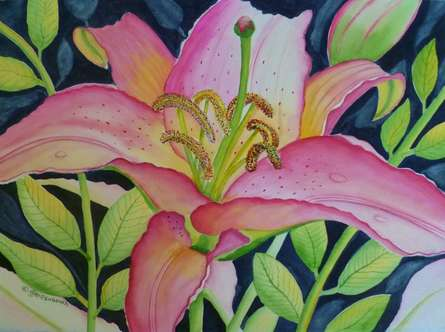 Nature Watercolor Art Painting title 'Star Lily' by artist Subodh Maheshwari
