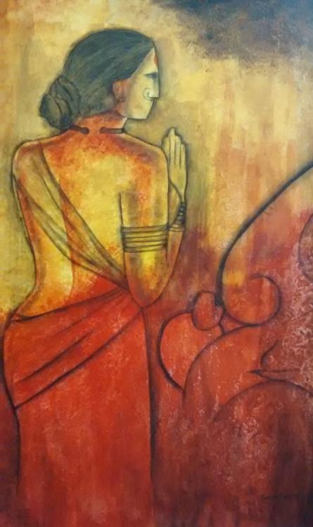 contemporary Acrylic Art Painting title Vakrathunda by artist Janaki Injety