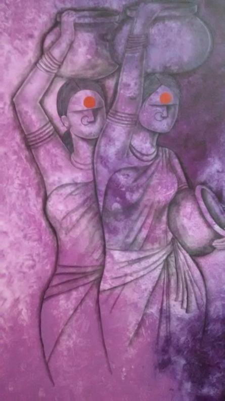 Figurative Acrylic Art Painting title To work by artist Janaki Injety