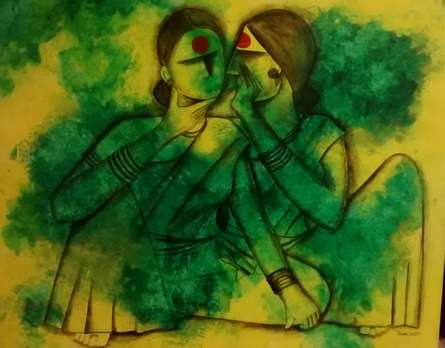Figurative Acrylic Art Painting title 'Gossip' by artist Janaki Injety