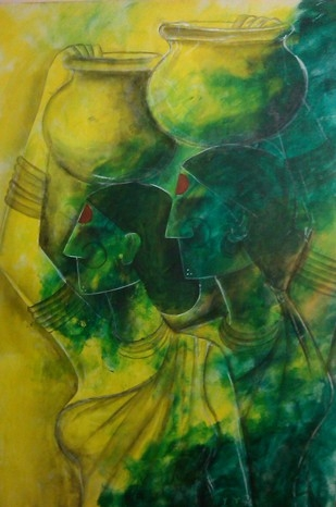 Untitled | Painting by artist Janaki Injety | mixed-media | Canvas Board