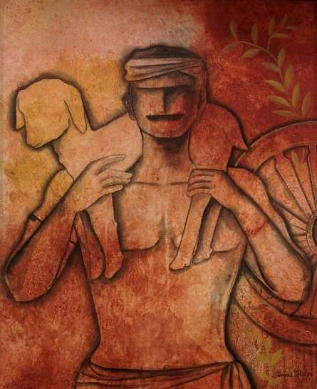 contemporary Acrylic Art Painting title Serene Life by artist Janaki Injety