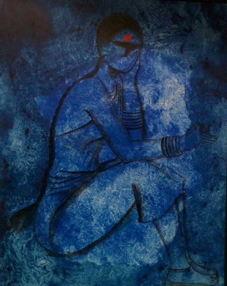 contemporary Acrylic Art Painting title Waiting by artist Janaki Injety