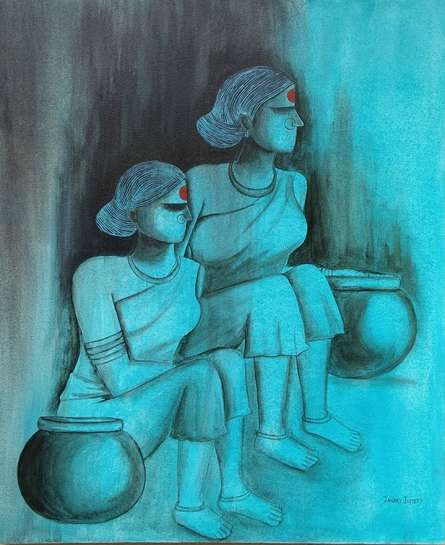 Watching | Painting by artist Janaki Injety | acrylic | Canvas Board