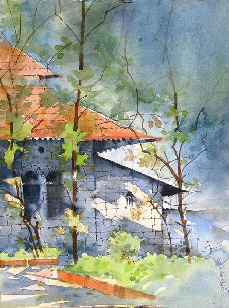 Landscape Watercolor Art Painting title 'WATERCOLOUR LANDSCAPES' by artist Sachin Naik