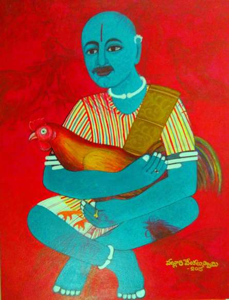 Cock Fighter | Painting by artist V.v. Swamy | acrylic | Canvas