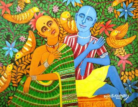 Figurative Acrylic Art Painting title Discussion by artist V.v. Swamy
