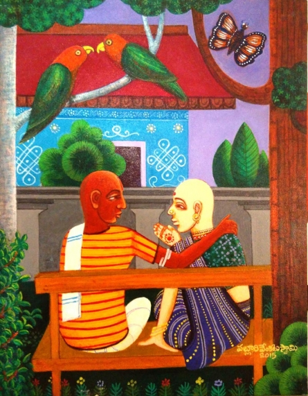 Family Gossip   Painting by artist V.v. Swamy   acrylic   Canvas