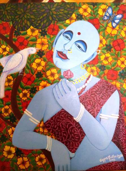 Figurative Acrylic Art Painting title 'Love Message Through Parrot' by artist V.v. Swamy