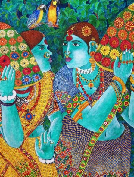 Figurative Acrylic Art Painting title 'Gossiping Women' by artist Bhawandla Narahari