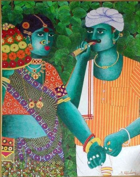 Figurative Acrylic Art Painting title 'Bonalu 1' by artist Bhawandla Narahari