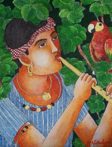 Figurative Acrylic Art Painting title 'Boy With Parrot' by artist Bhawandla Narahari