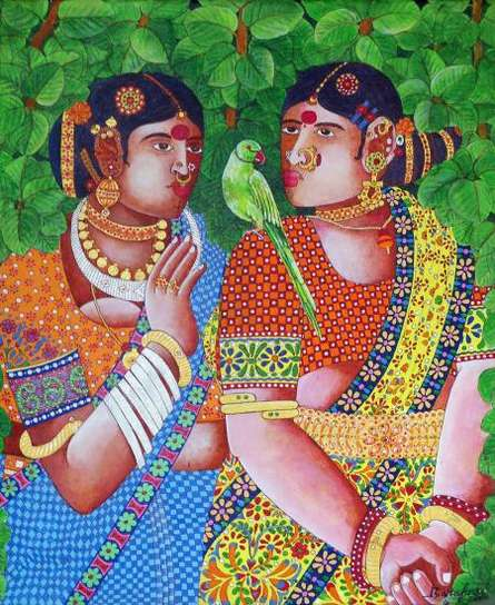Ladies With Parrot 1 | Painting by artist Bhawandla Narahari | acrylic | Canvas