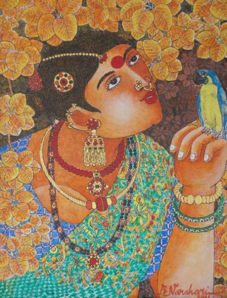 Bhawandla Narahari | Acrylic Painting title Lady With Parrot 1 on Canvas | Artist Bhawandla Narahari Gallery | ArtZolo.com