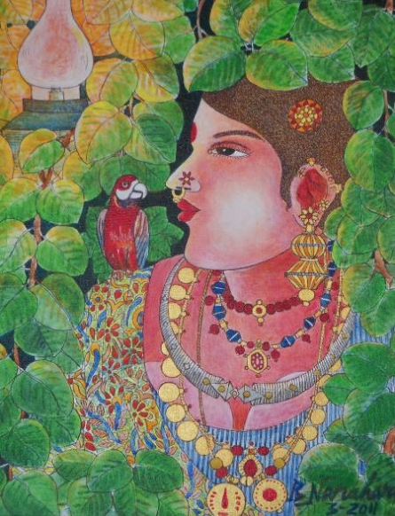Figurative Acrylic Art Painting title 'Lady With Parrot 2' by artist Bhawandla Narahari