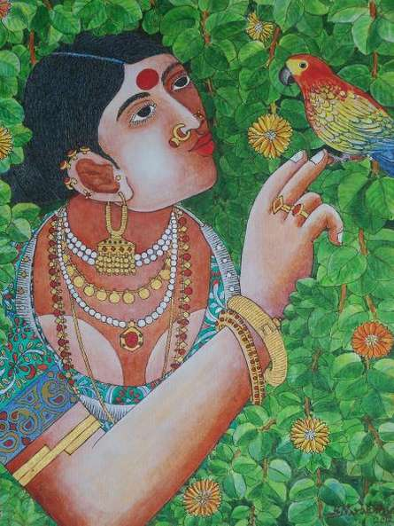 Lady With Parrot 4 | Painting by artist Bhawandla Narahari | acrylic | Canvas