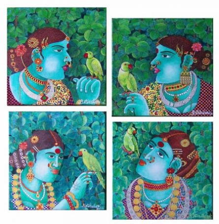 Figurative Acrylic Art Painting title 'Painting Set 1' by artist Bhawandla Narahari