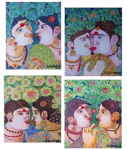 Figurative Acrylic Art Painting title 'Painting Set 2' by artist Bhawandla Narahari