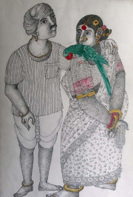 Couple with Parrot | Painting by artist Bhawandla Narahari | acrylic | Paper