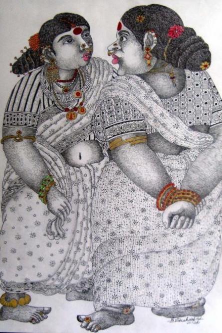 Figurative Acrylic Art Painting title 'Gossip' by artist Bhawandla Narahari