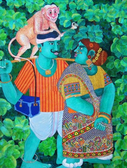 Bhawandla Narahari | Acrylic Painting title Untitled on Canvas | Artist Bhawandla Narahari Gallery | ArtZolo.com