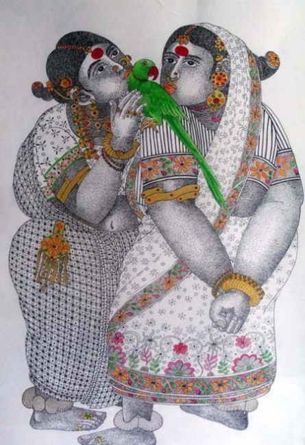 Women With Parrot - 1 | Painting by artist Bhawandla Narahari | acrylic | Paper