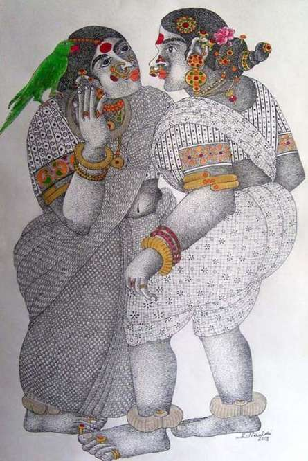 Figurative Acrylic Art Painting title 'Women With Parrot 3' by artist Bhawandla Narahari