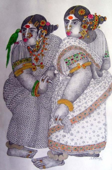 Women With Parrot - 4 | Painting by artist Bhawandla Narahari | acrylic | Paper