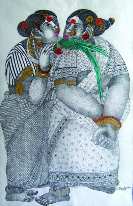Women With Parrot - 5 | Painting by artist Bhawandla Narahari | acrylic | Paper