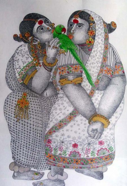 Women-With-Parrot - 1 | Painting by artist Bhawandla Narahari | acrylic | Paper
