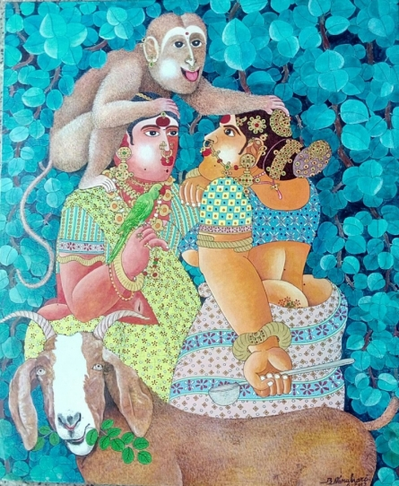 Figurative Acrylic Art Painting title 'Couple monkey and Goat 1' by artist Bhawandla Narahari