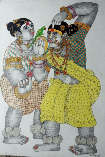 Women with parrot 7 | Drawing by artist Bhawandla Narahari |  | Pen&Ink | Paper