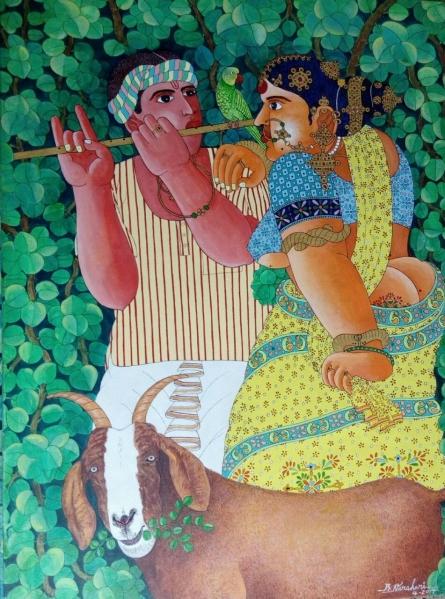 Couple and Goat 1 | Painting by artist Bhawandla Narahari | acrylic | Canvas