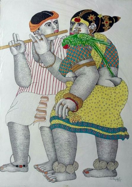Figurative Acrylic Art Painting title 'Couple 1' by artist Bhawandla Narahari