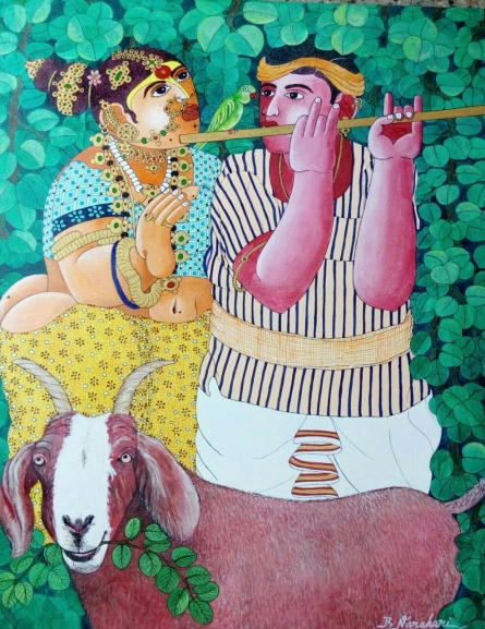 Figurative Acrylic Art Painting title 'Couple and Goat 2' by artist Bhawandla Narahari