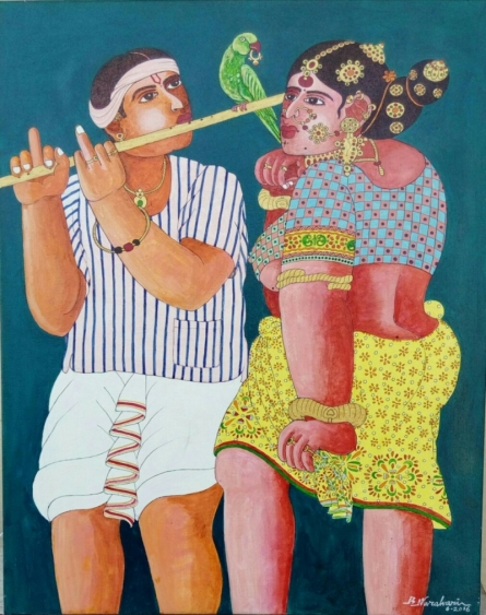 Couple and Parrot 2 | Painting by artist Bhawandla Narahari | acrylic | Canvas