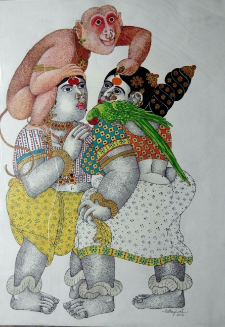 Women with Monkey | Painting by artist Bhawandla Narahari | acrylic | Paper