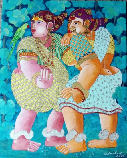Figurative Acrylic Art Painting title 'Village Women with Parrot 4' by artist Bhawandla Narahari